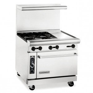 "American Range 36"" 4 Burner Commercial Restaurant Range with 12"" Griddle and Standard Oven AR-12G-4B"