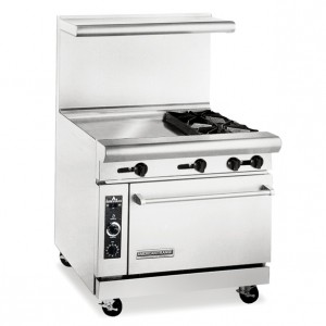 "American Range 36"" 2 Burner Commercial Restaurant Range with 24"" Griddle and Standard Oven AR-24G-2B"