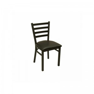 KTI Black Metal Ladder Back Chair w/ Black Seat 700-B