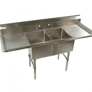 KTI ECS-2-2D 2 Hole Double Compartment Sink Stainless Steel w/ Double Drain Boards