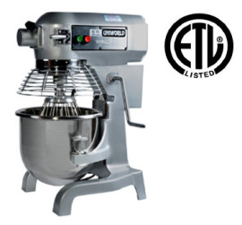 Uniworld 20 QT Planetary Mixer w/ Guard, SS Bowl, and 3 Attachments
