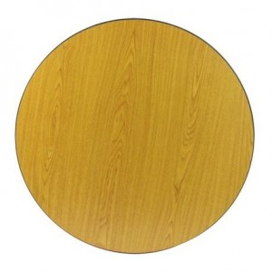 "KTI 30"" Round Reversible Table Top, Golden Oak and Walnut"