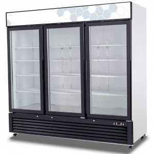 Migali C-72RM SS Reach In Refrigerator Three Hinged Glass Doors