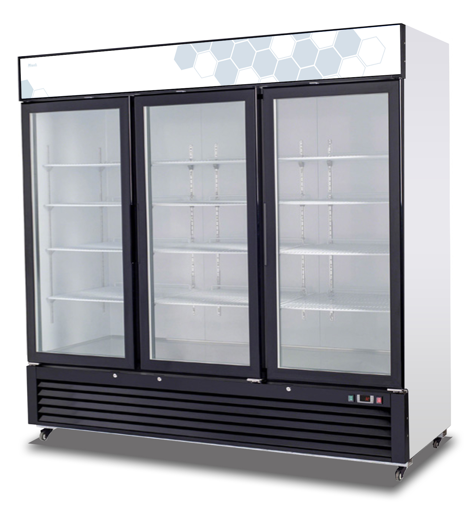Migali C 72rm Ss Reach In Refrigerator Three Hinged Glass Doors A1