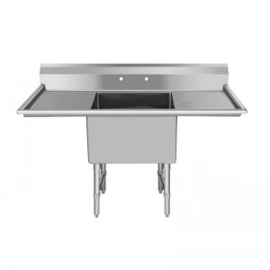 "KTI ECS-1-2D Economy Single Compact Sink With Two Drainboards (16""x20""x11"" deep, OD 52""x25.5"")"