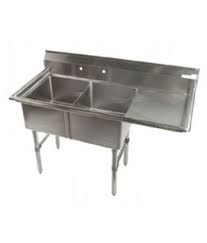 "KTI ECS-2-DR Economy 2 Compartment Sink With One Drainboard On Right (16""x20"" x11"";OD 53""x25.5"")"