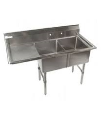 "KTI ECS-2-DL Economy 2 Compartment sink With One Drainboard On Left (16""x20"" x11"";OD 53""x25.5"")"