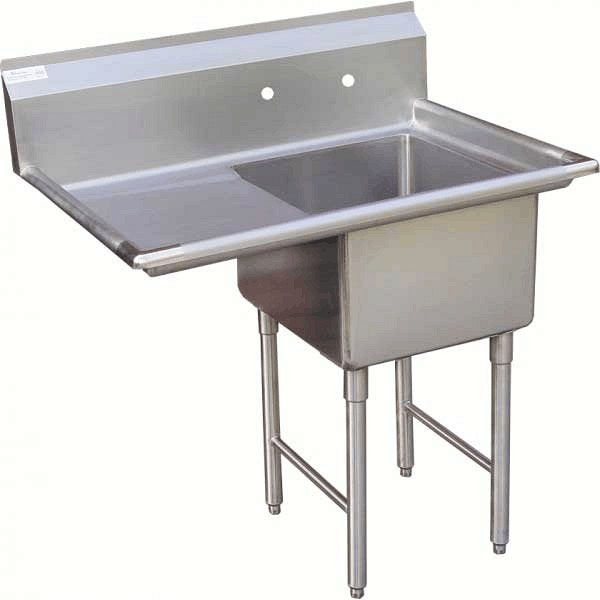 "KTI ECS-1DL Economy and Heavy Duty Single Comp. Sink w/ Drainboard (16"" x 20"" x 11"" deep , OD 25.5"" x 37"")"
