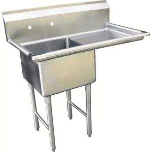"KTI ECS-1DR Economy and Heavy Duty Single Comp. Sink w/ Drainboard (16"" x 20"" x 11"" deep , OD 25.5"" x 37"")"