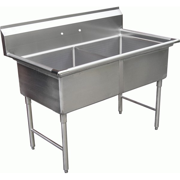 "KTI ECS-2 Economy Double Compartment Sink With No Drainboards (16""x20""x11"" deep;OD 37""x25.5"")"