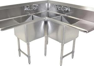 "BK BKCS-3-24-14-24T 18 Gauge Three Compartment Corner Sink (24""x 24""x 14"") / DB(2)24"""