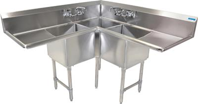 "BK BKCS-3-18-14-18T 18 Gauge Three Compartment Corner Sink (18""x 18""x 14"") / DB(2)18"""