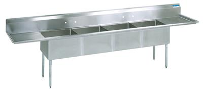 "BK BKS-4-1620-14-18T 18 Gauge Four Compartment Sink (16""x 20""x 14"") / DB(2)18"""