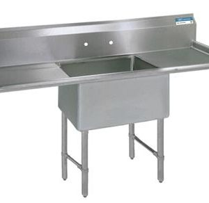 "BK BKS6-1-1620-14-18TS 16 Gauge One Compartment Sink (16""x 20""x 14"") / DB(2)-18"""