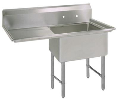 "BK BKS6-1-24-14-24LS 16 Gauge One Compartment Sink (24""x 24""x 14"") / DB(1)L-24"""