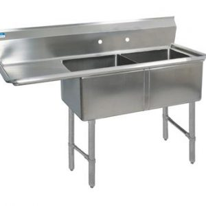 "BK BKS6-2-24-14-24LS 16 Gauge Two Compartment Sink (24""x 24""x 14"") / DB(1)L-24"""