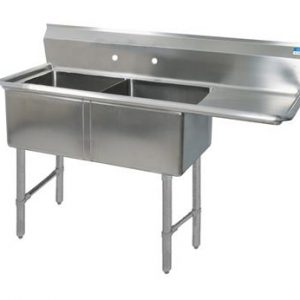 "BK BKS6-2-24-14-24RS 16 Gauge Two Compartment Sink (24""x 24""x 14"") / DB(1)R-24"""