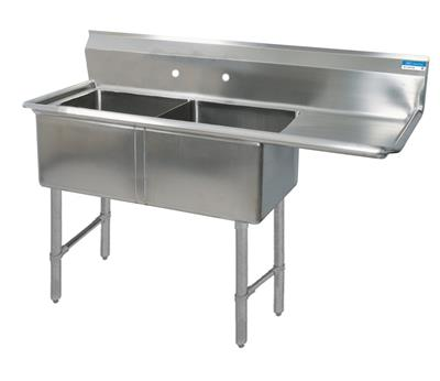 """BK BKS6-2-1620-14-18RS 16 Gauge Two Compartment Sink (16""""x 20""""x 14"""") / DB(1)R-18"""""""