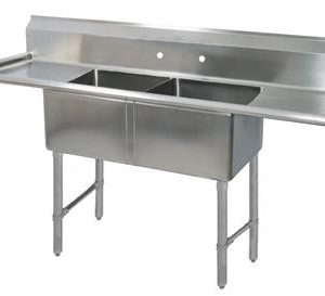 "BK BKS6-2-24-14-24TS 16 Gauge Two Compartment Sink (24""x 24""x 14"") / DB(2)-24"""