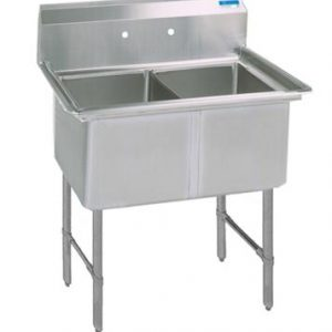 "BK BKS6-2-24-14S 16 Gauge Two Compartment Sink (24""x 24""x 14"") / no Drainboard"