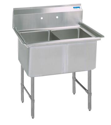 "BK BKS6-2-1620-14S 16 Gauge Two Compartment Sink (16""x 20""x 14"") / no Drainboard"