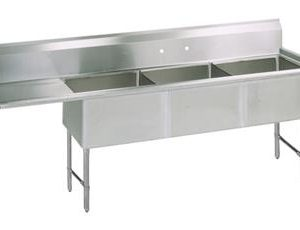 "BK BKS6-3-24-14-24LS 16 Gauge Three Compartment Sink (24""x 24""x 14"") / DB(1)L-24"""