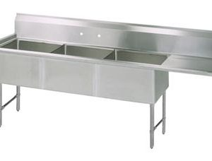 "BK BKS6-3-24-14-24RS 16 Gauge Three Compartment Sink (24""x 24""x 14"") / DB(1)R-24"""
