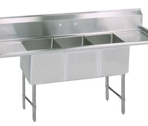 "BK BKS6-3-24-14-24TS 16 Gauge Three Compartment Sink (24""x 24""x 14"") / DB(2)-24"""
