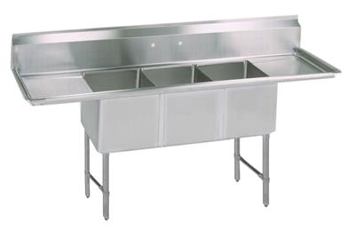 "BK BKS6-3-1620-14-18TS 16 Gauge Three Compartment Sink (16""x 20""x 14"") / DB(2)-18"""