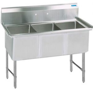 "BK BKS6-3-24-14S 16 Gauge Three Compartment Sink (24""x 24""x 14"") / no Drainboard"